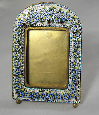 Antique Italian Micro Mosaic Forget-me-not Photo Frame