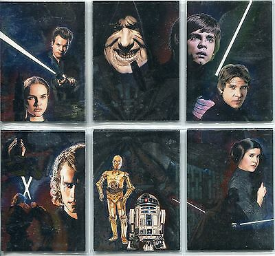 Star Wars Galaxy 4 Complete Etched Foil Puzzle Chase Card Set 1-6