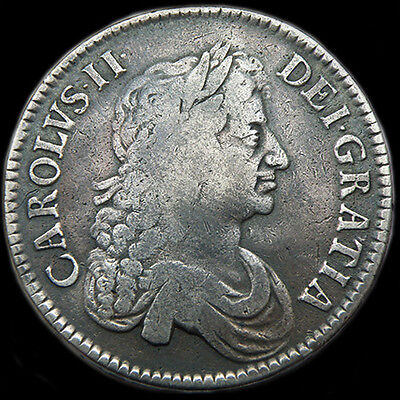 Rare King Charles The Ii 1671 Silver Crown