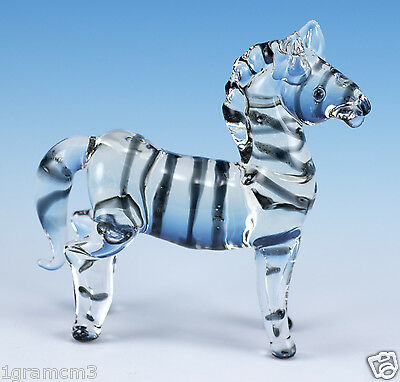 "Miniature Hand Blown Clear Boro Glass Zebra Figurine 2.75"" High New!"