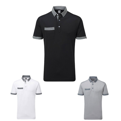 SALE  - 40% Off Footjoy Essentials Mens Pique Houndstooth Collar Golf Polo Shirt