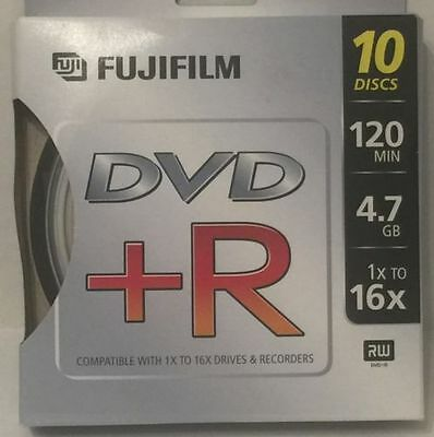FUJI FUJIFILM DVD+R 120 Min 1x to 16x 4.7 GB BRAND NEW 10 Pack of Discs RW Slim