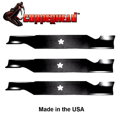 """3 Pack Copperhead Hi Lift Blades fit Sears 187254 187256 532187256 for 54"""" Deck"""