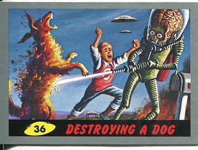 Mars Attacks Heritage Silver Parallel Base Card #36    Destroying a Dog