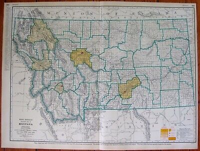 1956 RARE Size MONTANA Map with RAILROADS State Map of Montana Poster Print 3744