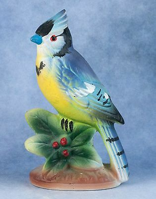 Vintage Ceramic 3.75 Inch Blue Jay Bird Figurine Inarco Made In Japan