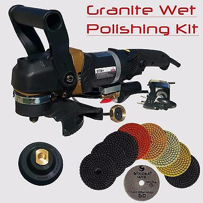 "Stadea 5"" Wet Stone Grinder Polisher with Granite Wet Polisher Polishing Pad Kit"