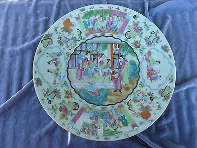 Fine Late 18Th C / Early 19Th C Celadon Famille Rose Charger Royal Court Scene