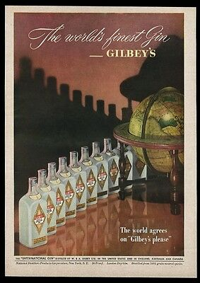 1949 Gilbey's Gin bottle and globe color photo vintage print ad