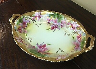 Hand Painted Iris Orchid Decoration Open Handled Vegetable Bowl