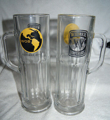 Lot of 2 clear beer mugs - Widmer Brothers - World of Beer 2011