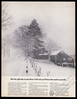 1967 VW Volkswagen Beetle classic car on snowy road photo vintage print ad