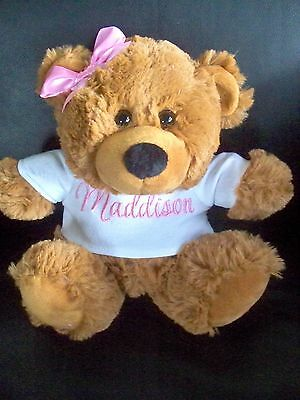 Personalised Teddy Bear  Baby Gift or Birthday Get Well Gift 23cm Any Name