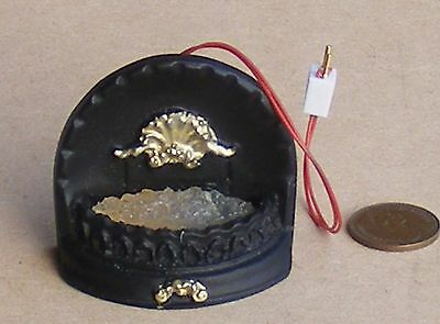 1:12 Scale Dolls House Miniature 12v Working Fire With Black Surround Accessory