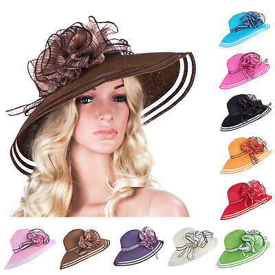 Women Wedding Royal Ascot Ladies' Day Wide Brim Straw Summer Beach Sun Hat A115