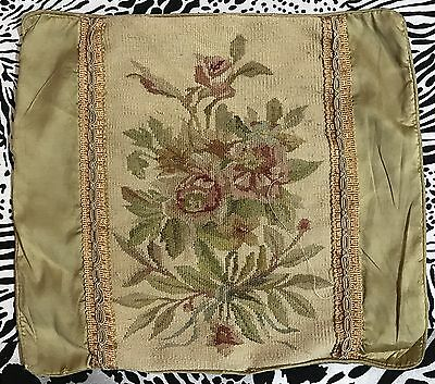 """ANTIQUE 19C AUBUSSON FRENCH HAND WOVEN TAPESTRY CUSHION 12"""" By 14"""""""