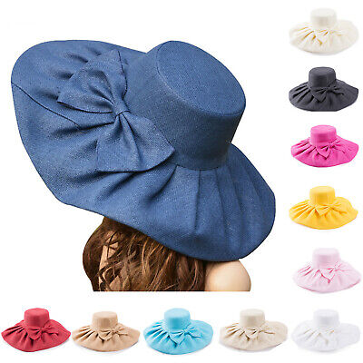 Womens Wide Brim Royal Ascot Ladies' Day Wedding Sea Beach Sun Hat Linen A047