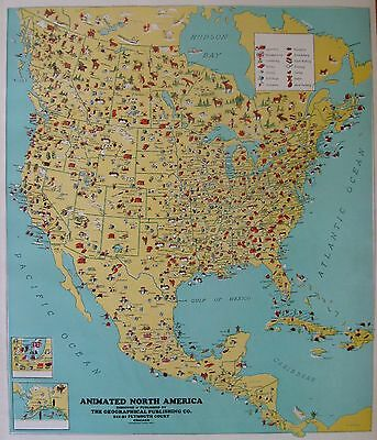 1936 Antique NORTH AMERICA Map Animated Picture Map Poster Print Size 3763