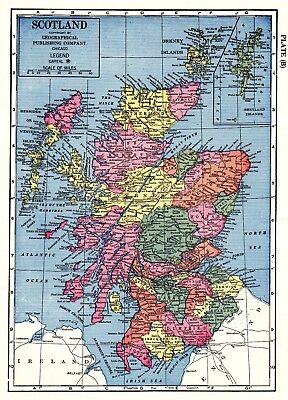 1957 Antique SCOTLAND MAP Gallery Wall Art Vintage Map of Scotland #3770