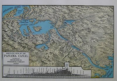 1947 Antique PANAMA CANAL Map Uncommon Vintage Canal Zone Map 3772