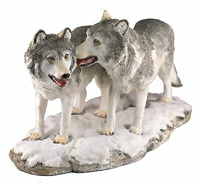 """Two Wolves Wolf Figurine Resin 11.75"""" Long - Highly Detailed - New In Box"""