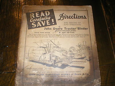 John Deere Tractor Binder 8 and 10 foot Operators Manual