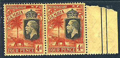 GAMBIA King George V 1927 4d Red & Black/Yellow A PAIR Mult Script CA SG 129 MNH