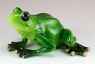 Green Frog Figurine 5.25 Inch Long Resin Glossy Finish New In Box
