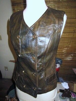 Vtg 60's 70's Double Breasted Leather Vest Top Jacket.Womans S/M.The Tannery Mod