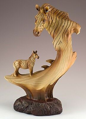 Zebra Carved Wood Look Figurine Resin 9 Inch High New In Box