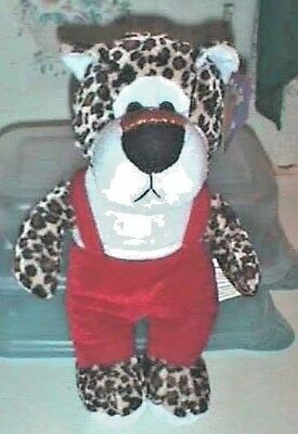 Plush Leopard in Red Overalls Kuddle Me Toys by Kellytoy 12 Inches Tall NWT