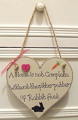 Handmade Personalised Heart Plaque Sign Pet Rabbit Shabby Chic Cage Hutch Home