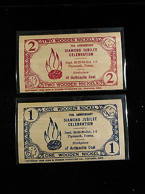 Set Of 2 75Th Anniversary Plymouth Pa.  1938 Flat Wooden Nickel  Notes