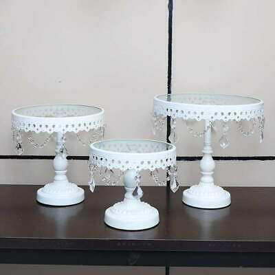 3PC White Wedding Metal And Glass Lace Cupcake Cake Stand With Crystal Pendant C