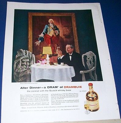 1957 Drambuie cordial Prince Chas Edward Ad Empress Chinchilla fur by Leo Ritter