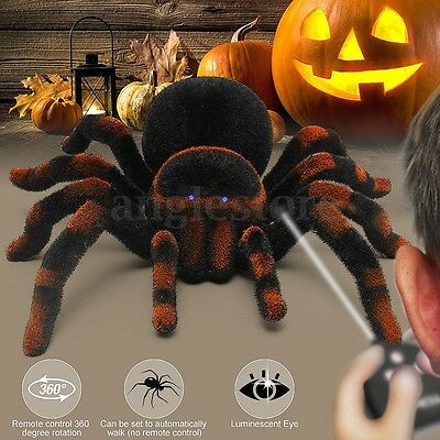 Remote Control 8'' 4CH Realistic RC Spider Scary Toy Prank Holiday Gift Model
