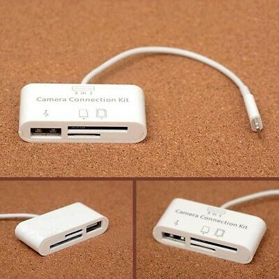 3 USB Card Reader Micro SD Camera Link  Adapter for iPad /Mini iphone Great New