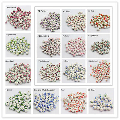 10pcs Flower Pattern Ceramic Loose Spacer Charm Round Beads DIY Jewelry Making