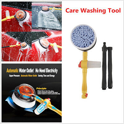 Car Automaticly Rotate Wash Brush Water Flow Foam Brush Washer Care Clean Tools