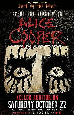 "ALICE COOPER ""SPEND THE NIGHT WITH"" 2016 PORTLAND CONCERT TOUR POSTER- Hard Rock"