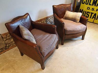 Chairs a pair of Edwardian Leather club armchairs c1910