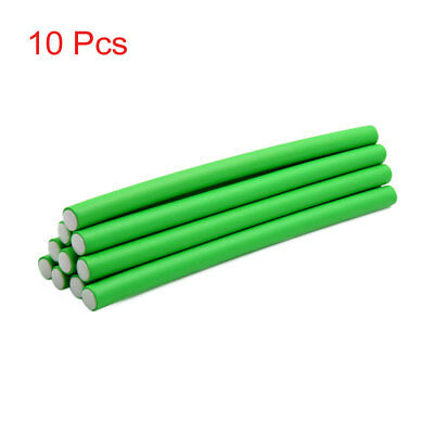 10 Pcs Green 14mm Dia DIY Curler Makers Soft Foam Bendy Twist Curls Hair Rollers