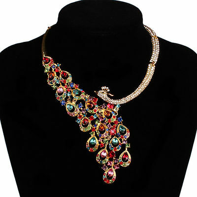 Women Colorful Rhinestone Necklace Earring Ring Wedding Party Set Silver Red