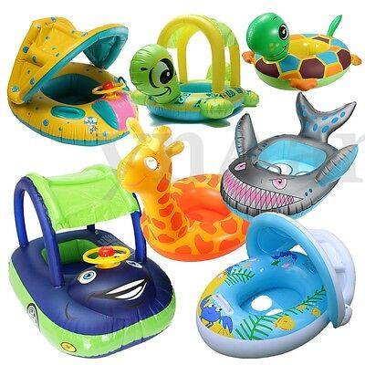 Inflatable Float Sunshade Car Baby Swim Floating Ring Seat Boat Swimming Pool