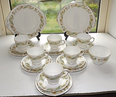 Duchess Bone China, Greensleeves 21 PC Teaset  Cups Saucers Plates Sugar Bowl
