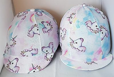 Riding Hat Cover - Unicorns - Multi Colours - White, Pink, Lilac Etc With Bling