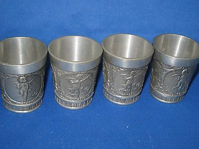 Lot 4 Antique German Embossed Heavy Solid  Pewter Shooters Engraved Beautiful