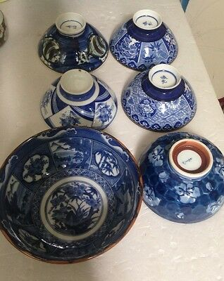 Set Cobalt Blue and White Porcelain Asian Rice/Soup Bowls - Mixed Lot