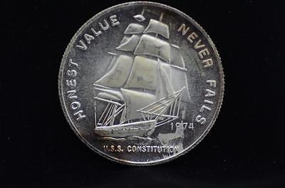 1974 Honest Value Never Fails U.S.S Constitution Mint 1 ozt .999 Silver {A007}