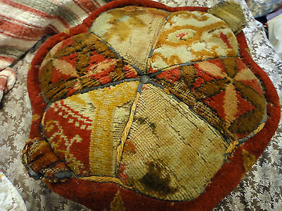Antique Victorian Stool Ottoman Foot Rest w/ antique carpet bag fabric primitive